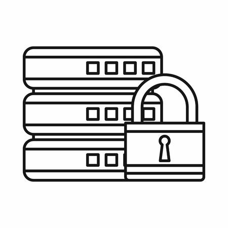 Base de données avec icône de cadenas dans les grandes lignes de style isolé sur fond blanc