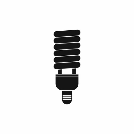 compact fluorescent lightbulb: Fluorescent bulb icon in simple style isolated on white background