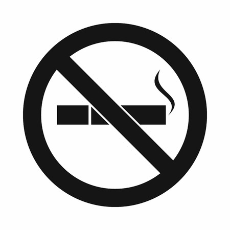cigar label: No smoking sign icon in simple style isolated on white background