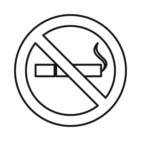 pernicious: No smoking sign icon in outline style isolated on white background