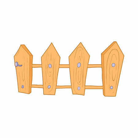 carpentry cartoon: Wooden fence icon in cartoon style on a white background
