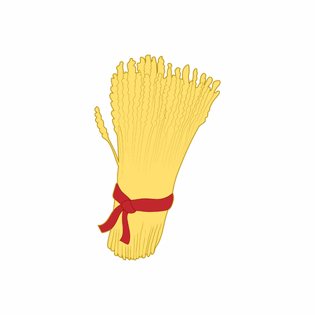 sheaf: Sheaf of wheat icon in cartoon style on a white background
