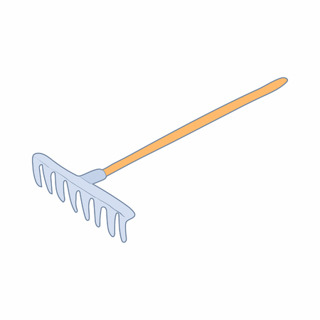 Rake with a wooden handle icon in cartoon style on a white background