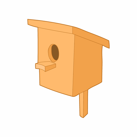 nestling birds: Birdhouse or nesting box icon in cartoon style on a white background Illustration