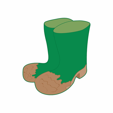 Dirty green rubber boots icon in cartoon style on a white background