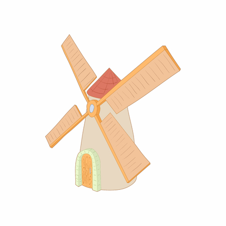 farmstead: Windmill icon in cartoon style on a white background