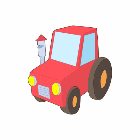 cultivator: Red tractor icon in cartoon style on a white background