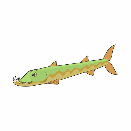 pike: Pike fish icon in cartoon style on a white background