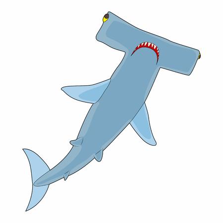 pez martillo: icono de tiburón martillo en el estilo de dibujos animados sobre un fondo blanco