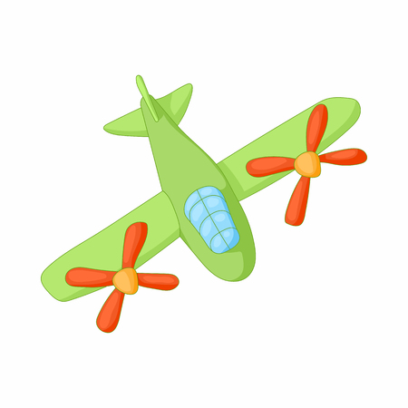 interceptor: Airplane with two propeller engines icon in cartoon style on a white background