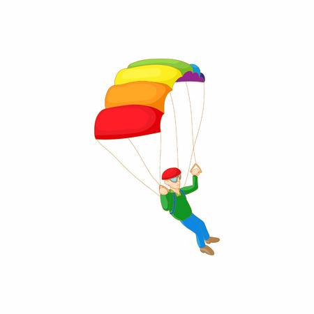 skydiver: Skydiver with parachute open icon in cartoon style on a white background