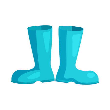 galoshes: Blue rubber boots icon in cartoon style on a white background