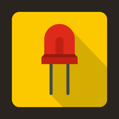 halogen: Red halogen lamp icon in flat style on a yellow background