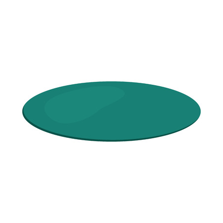 Turquoise round rug icon in cartoon style on a white background