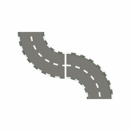 curved road: Curved road icon in cartoon style on a white background
