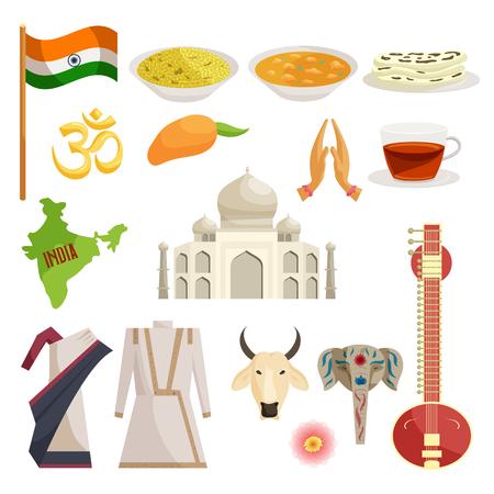 buddha lotus: India icons set in cartoon style isolated on white background
