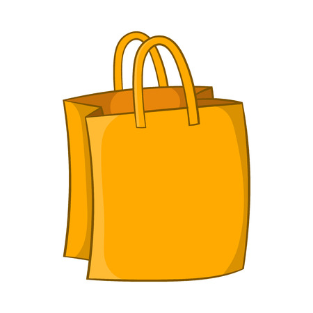 handles: Bag with handles icon in cartoon style isolated on white background. Shopping symbol Illustration