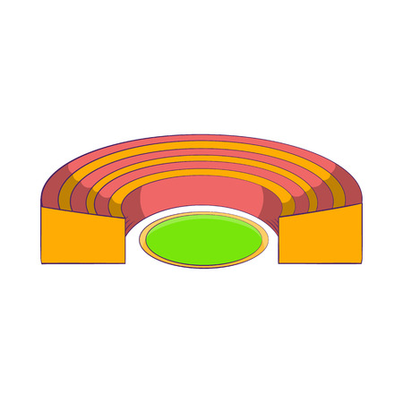 semicircular: Semicircular stadium icon in cartoon style isolated on white background. Sports facility symbol Illustration