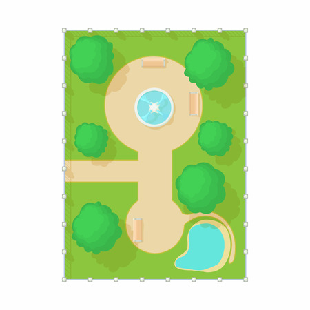 Top view of park with a fountain icon in cartoon style on a white background