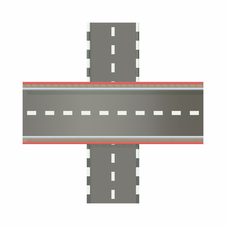 multilevel: Multilevel road intersection of freeways icon in cartoon style on a white background