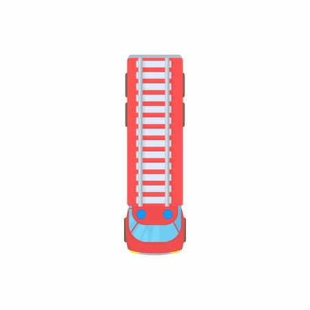 Fire truck top view icon in cartoon style on a white background