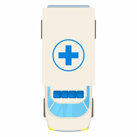 Ambulancia icono de la vista superior del coche en el estilo de dibujos animados sobre un fondo blanco Ilustración de vector