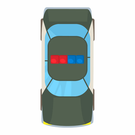 scintillating: Police car top view icon in cartoon style on a white background