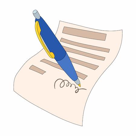 Le document est signé icône dans le style de bande dessinée sur un fond blanc