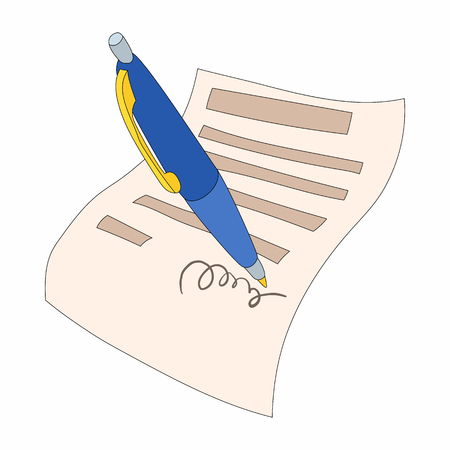 indenture: The document is signed icon in cartoon style on a white background