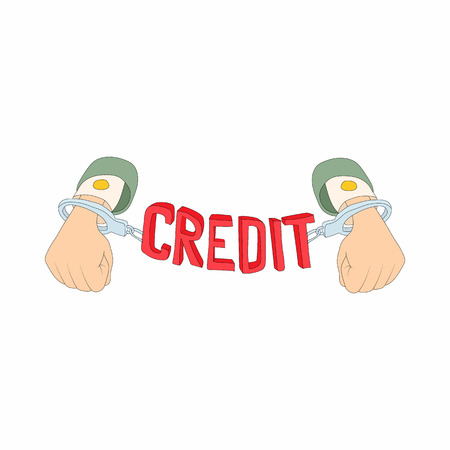 liabilities: Hands with handcuffs and credit lettering icon in cartoon style on a white background