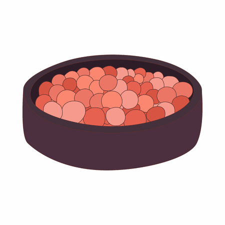 corpuscle: Rouge balls in a red box icon in cartoon style on a white background Illustration