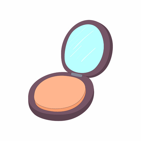 makeup powder: Makeup powder in black case icon in cartoon style on a white background