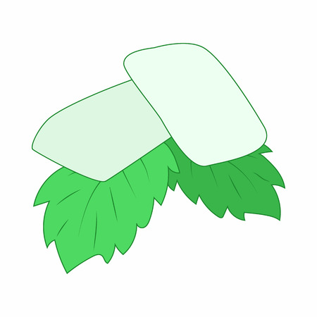 freshener: Chewing gum with fresh mint leaves icon in cartoon style on a white background