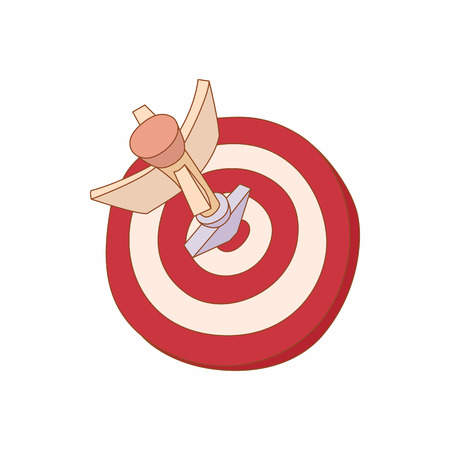 archer cartoon: Darts icon in cartoon style isolated on white background. Games and entertainment symbol
