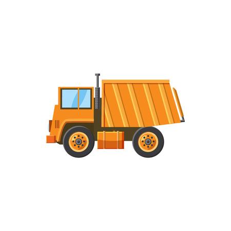 land mine: Orange dump truck icon in cartoon style on a white background Illustration