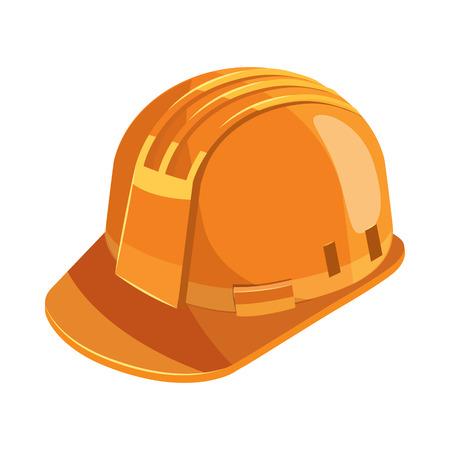 construction helmet: Orange construction helmet icon in cartoon style on a white background Illustration
