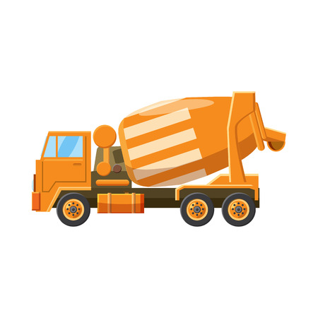 truck concrete mixer: Orange truck concrete mixer icon in cartoon style on a white background