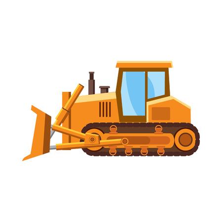 quarry: Orange bulldozer icon in cartoon style on a white background