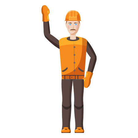 arquitecto caricatura: Builder icon in cartoon style on a white background