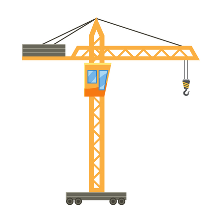 hoisting: Orange hoisting crane icon in cartoon style on a white background Illustration