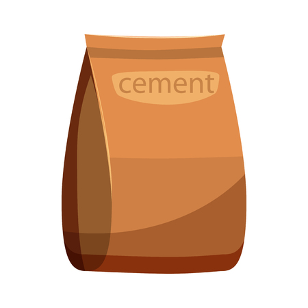 brown paper bag: Bag of cement icon in cartoon style on a white background