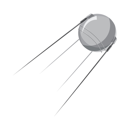 artificial satellite: Artificial Earth satellite icon in cartoon style on a white background