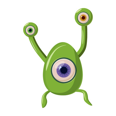 one eye: Green one eye alien monster icon in cartoon style on a white background