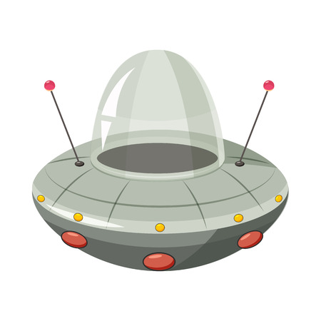 ship sky: Ufo spaceship icon in cartoon style on a white background