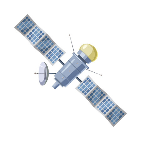 sputnik: Earth satellite sputnik icon in cartoon style on a white background Illustration