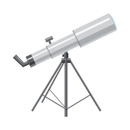 binoculars view: Telescope icon in isometric 3d style on a white background
