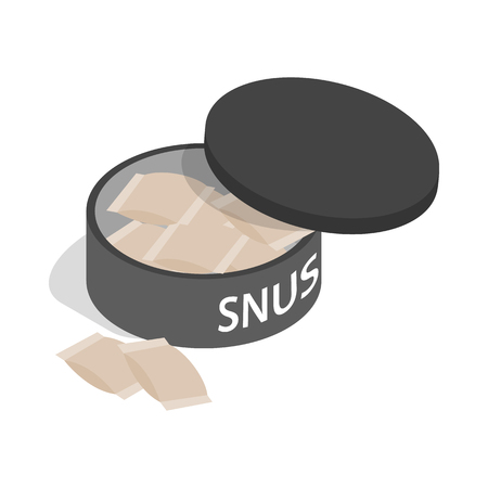 tobacco product: Swedish snus, chewing tobacco icon in isometric 3d style on a white background