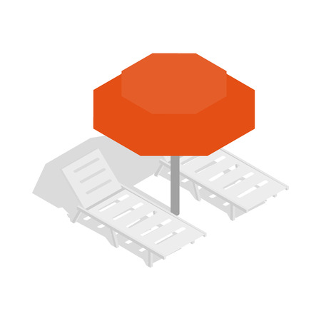 srilanka: Beach umbrella and two beach chairs icon in isometric 3d style on a white background