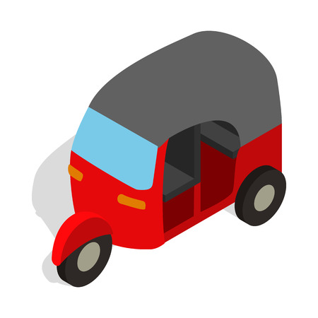 tuk: Red tuk tuk icon in isometric 3d style on a white background