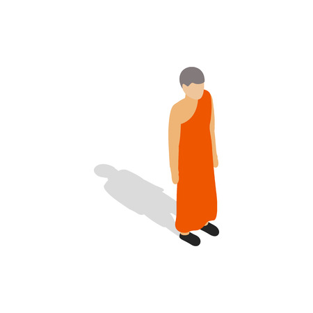 buddhist: Buddhist monk wearing orange robe icon in isometric 3d style on a white background